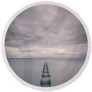 Cliffwood Sea Wall Vertical  Round Beach Towel