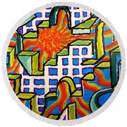 Climbing Abstractly  Round Beach Towel