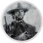 Clint Eastwood Round Beach Towel