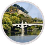 Clinton St. Bridge Prospect Mountain Binghamton Ny Round Beach Towel