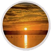 Clinton Sunset 1 Round Beach Towel