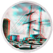 Clipper City - Use Red-cyan 3d Glasses Round Beach Towel