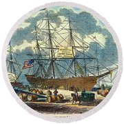 Clipper: Flying Cloud, 1851 Round Beach Towel
