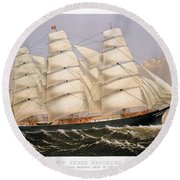 Clipper Ship, 1875 Round Beach Towel