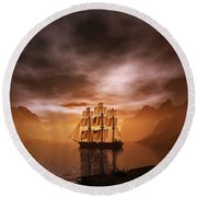 Clipper Ship At Sunset Round Beach Towel