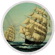 Clipper Ships Racing To Port Round Beach Towel