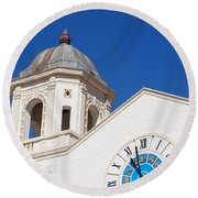 Clock And Tower Round Beach Towel