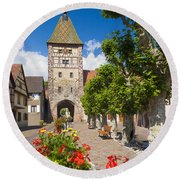 Half-timbered Houses, Alsace, France  Round Beach Towel