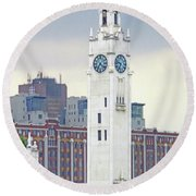 Clock Tower Montreal 2 Round Beach Towel