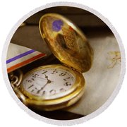 Clockmaker - Time Never Waits  Round Beach Towel