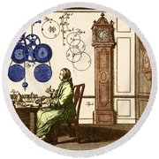Clockmaker Round Beach Towel by Photo Researchers