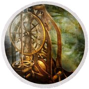 Clockmaker - The Day Time Stood Still  Round Beach Towel by Mike Savad