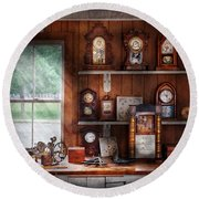 Clocksmith - In The Clock Repair Shop Round Beach Towel by Mike Savad