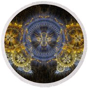 Clockwork Butterfly Round Beach Towel