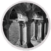 Cloister At Cong Abbey Cong Ireland Round Beach Towel
