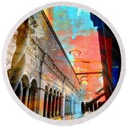 Cloister In Rome Round Beach Towel