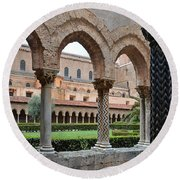 Cloister Of The Abbey Of Monreale. Round Beach Towel