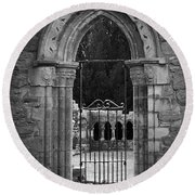Cloister View Cong Abbey Cong Ireland Round Beach Towel