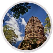 Cloning Out Tourists At Ta Prohm Temple, Angkor Archaeological Park, Siem Reap Province, Cambodia Round Beach Towel
