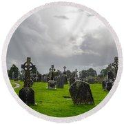 Clonmacnoise Monastery Round Beach Towel