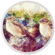 Close Encounters Of The Bird Kind Round Beach Towel