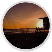 Close Of The Day At Newport Beach Round Beach Towel