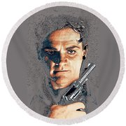 Close Up James Cagney As Gangster  Rocky Sullivan In Angels With Dirty Faces 1938-2008 Round Beach Towel
