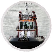 Close Up Of A Tugboat In Venice Harbor Round Beach Towel