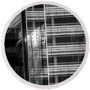Close Up Of Black And White Glass Building Round Beach Towel
