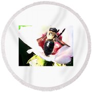 Close Up Of Bumble Bee On Flower Round Beach Towel