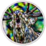 Close Up Of Huge Male Elk Bugling Round Beach Towel