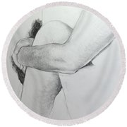 Close Up Of Life Figure. Round Beach Towel
