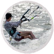Close-up Of Male Kite Surfer In Cap Round Beach Towel