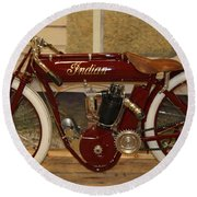 close up of red Indian motorcycle   # Round Beach Towel