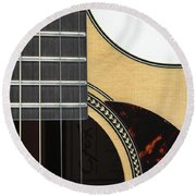 Close-up Of Steel-string Guitar Round Beach Towel