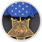 Close-up Of The Medal Of Honor Award Round Beach Towel