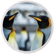 Close-up Of Two King Penguins In Colony Round Beach Towel