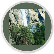 Close Up Of Waterfall  Round Beach Towel