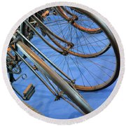 Close Up On Many Wheels From Bicycles  Round Beach Towel