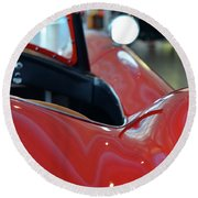 Close Up On Red Sport Car Round Beach Towel