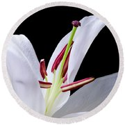 Close-up Photograph Of A White Oriental  Lily Round Beach Towel