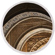 Close-up View Of Moorish Arches In The Alhambra Palace In Granad Round Beach Towel