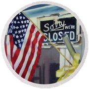 Closed For Business Round Beach Towel