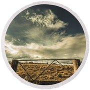 Closed Gates And Open Paddocks Round Beach Towel