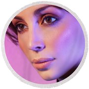 Closeup Beauty Portrait Of Woman Face In Colored Purple Light Round Beach Towel