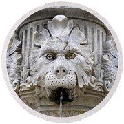 Closeup Of A Public Fountain In Dubrovnik Croatia Round Beach Towel