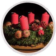 Closeup Of An Advent Wreath, Unlit Candles Round Beach Towel