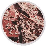 Closeup Of Chocolate Pieces And Shavings On Plate Round Beach Towel