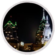 Closeup Of City Hall Philadelphia Round Beach Towel