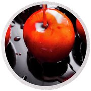 Closeup Of Red Candy Apple On Stick Round Beach Towel